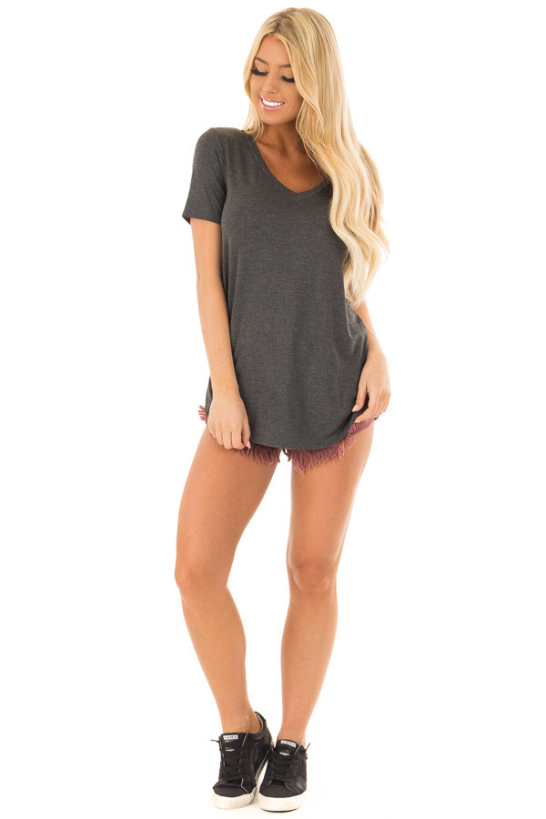 Charcoal V Neck Top with Side Slits front full body