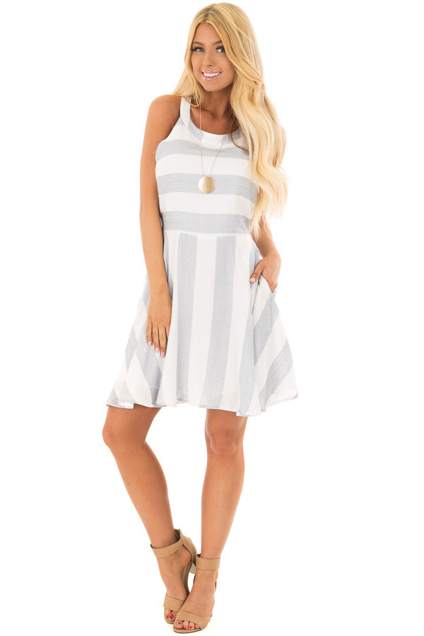 Denim Blue and White Stripe Dress with Hidden Pockets front full body