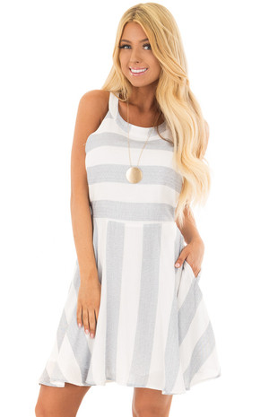 Denim Blue and White Stripe Dress with Hidden Pockets front closeup