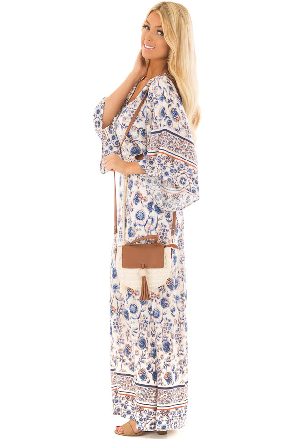 Ivory Floral Print Maxi Dress with Cut Outs and Waist Tie side full body