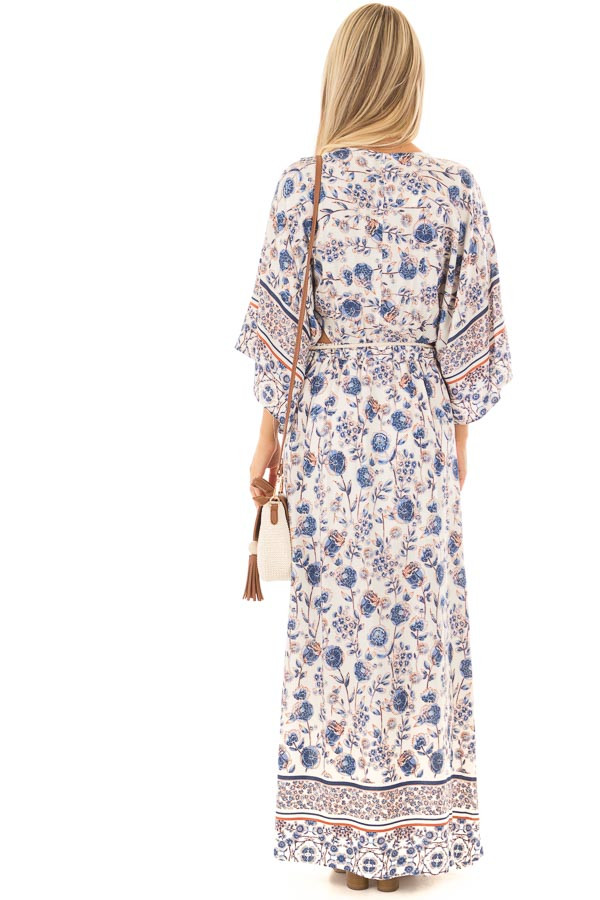 Ivory Floral Print Maxi Dress with Cut Outs and Waist Tie back full body
