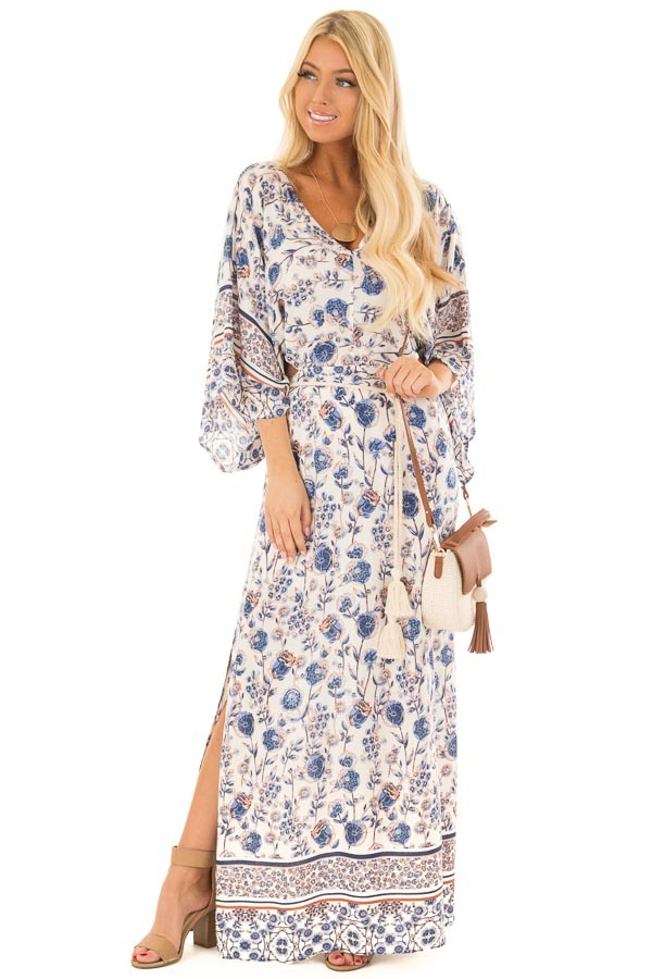 Ivory Floral Print Maxi Dress with Cut Outs and Waist Tie front full body