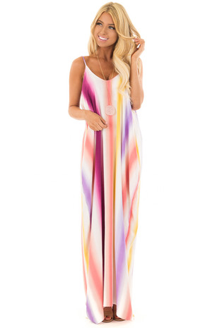 Multi Color Spaghetti Strap Cocoon Dress with Hidden pockets front full body