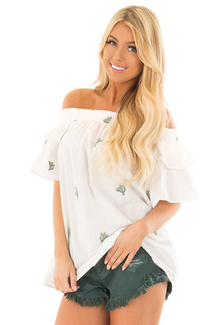 White Off the Shoulder Top with Embroidered Cactus Design front closeup