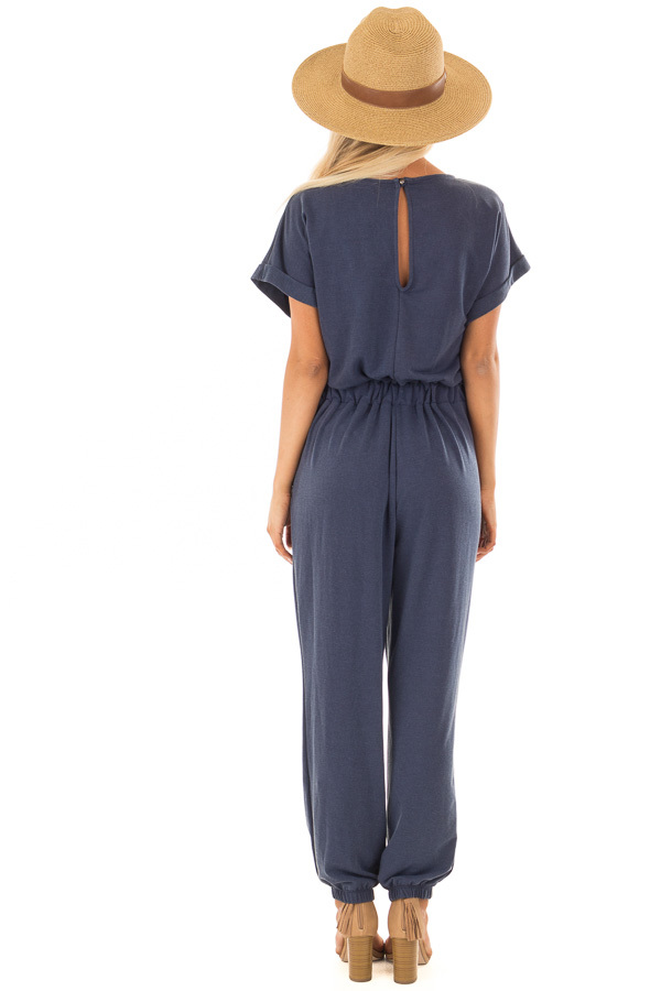 Navy Short Sleeve Jumpsuit with Waist Tie Detail back full body