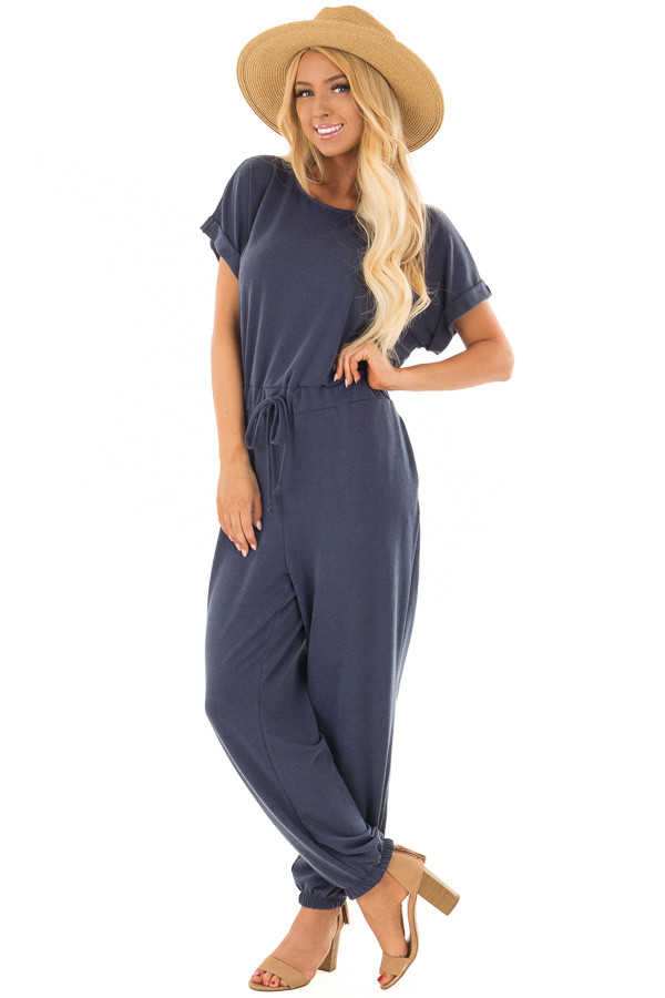 Navy Short Sleeve Jumpsuit with Waist Tie Detail front full body