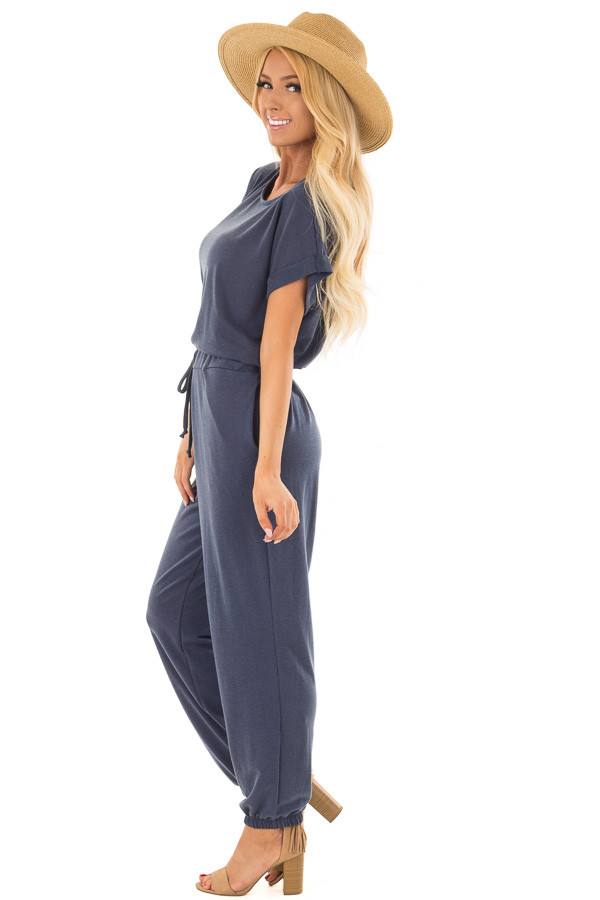 Navy Short Sleeve Jumpsuit with Waist Tie Detail side full body