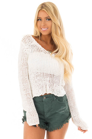 Ivory Long Sleeve Crop Top Knit Sweater with Low V Neck front closeup
