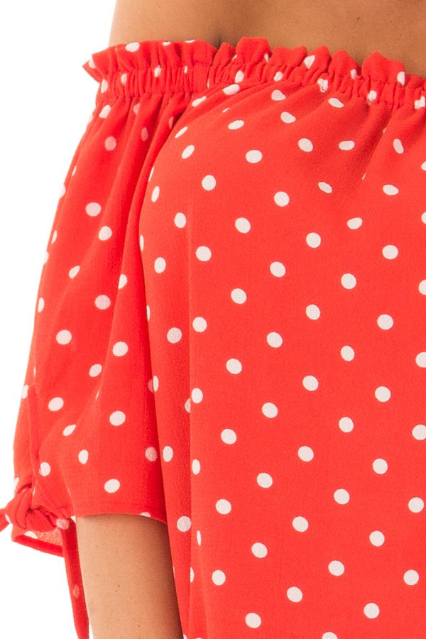 Cherry Red Polka Dot Off the Shoulder Blouse front detail