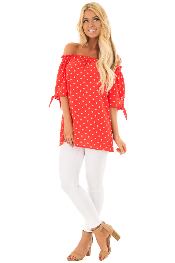 Cherry Red Polka Dot Off the Shoulder Blouse front full body