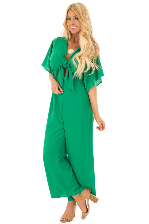 Kelly Green Front Tie Jumpsuit with Keyhole Back front full body