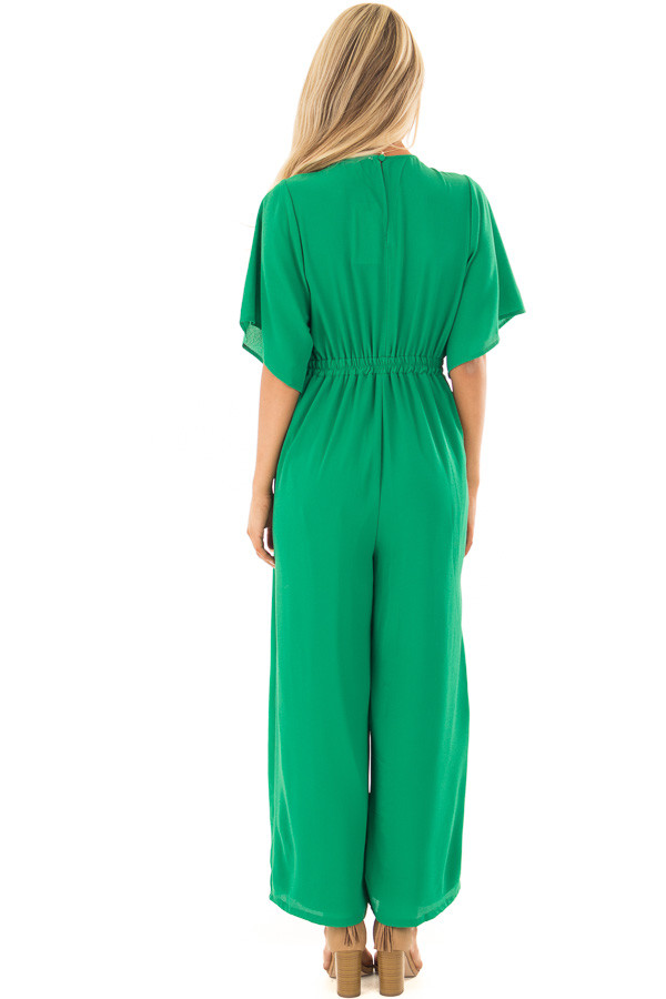 Kelly Green Front Tie Jumpsuit with Keyhole Back back full body