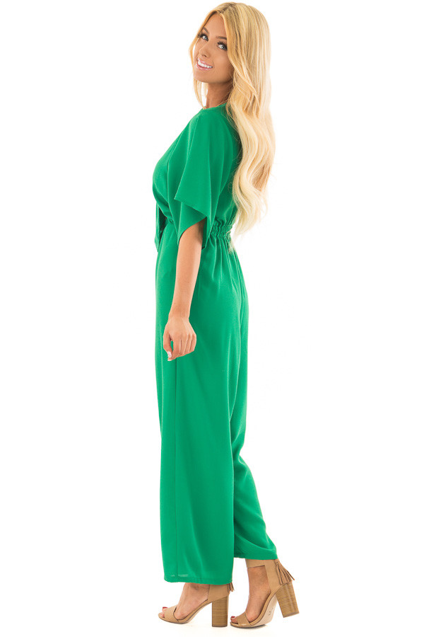 Kelly Green Front Tie Jumpsuit with Keyhole Back side full body