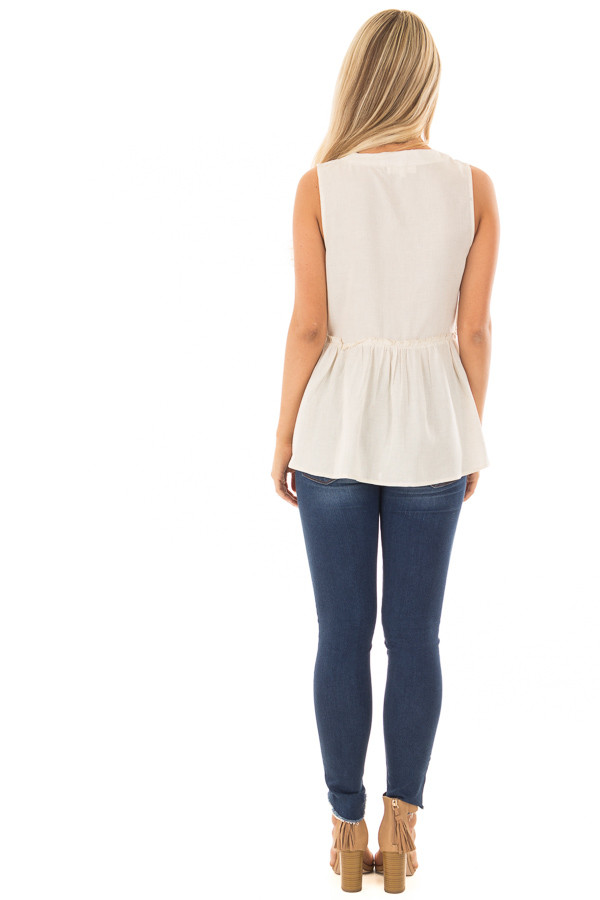 Oatmeal Tiered Tank Top with Lace up Front back full body