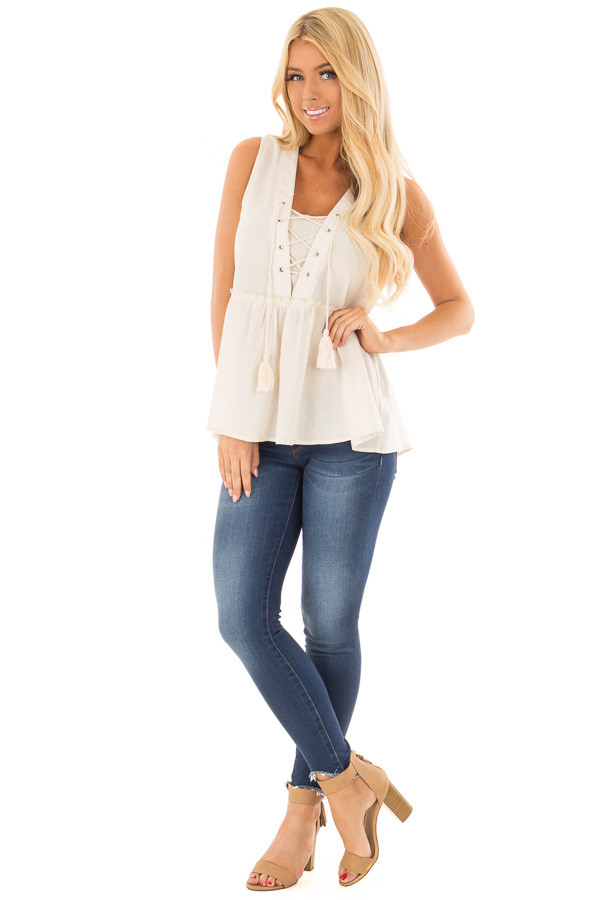 Oatmeal Tiered Tank Top with Lace up Front front full body