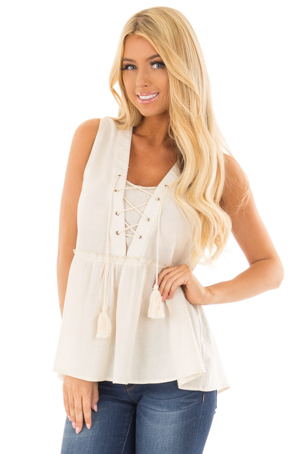Oatmeal Tiered Tank Top with Lace up Front front closeup