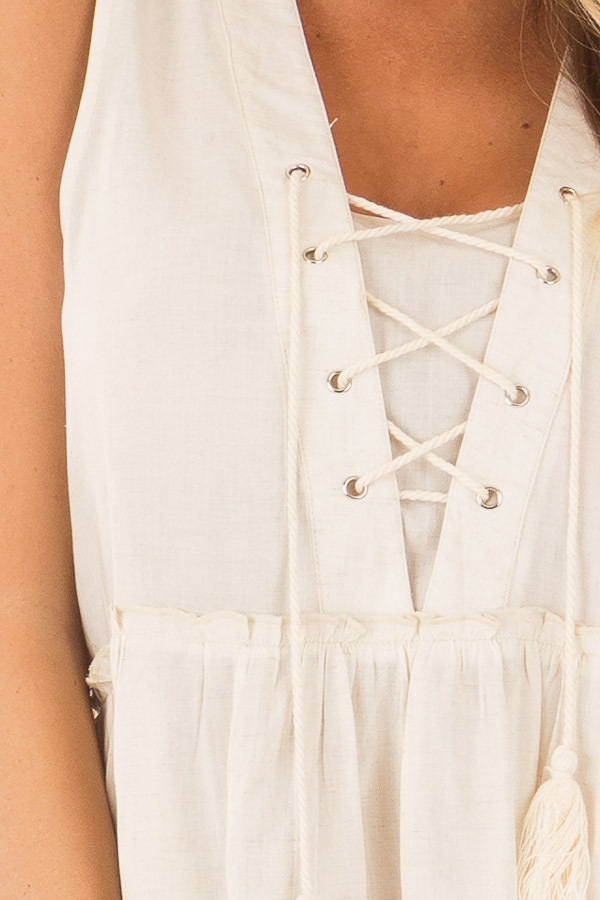 Oatmeal Tiered Tank Top with Lace up Front front detail