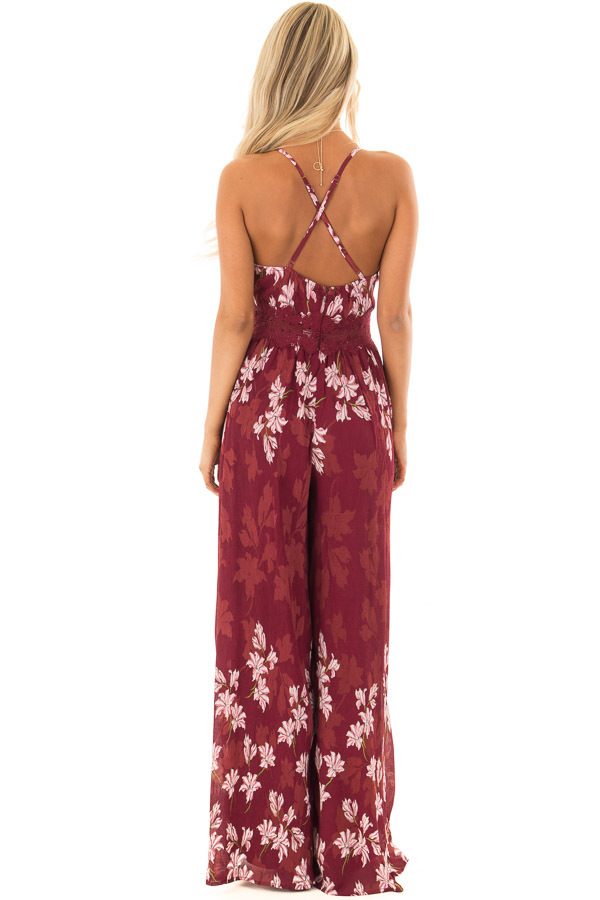 Burgundy Floral Jumpsuit with Lace Detail back full body