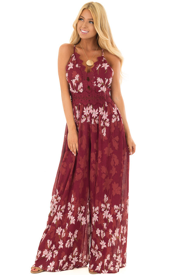 Burgundy Floral Jumpsuit with Lace Detail front full body