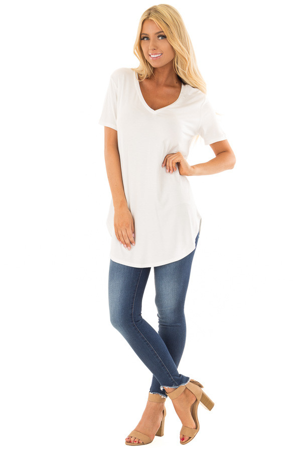 Ivory V Neck Short Sleeve Comfy Tee Shirt front full body