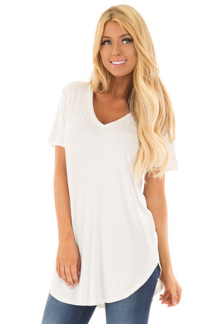 Ivory V Neck Short Sleeve Comfy Tee Shirt front close up