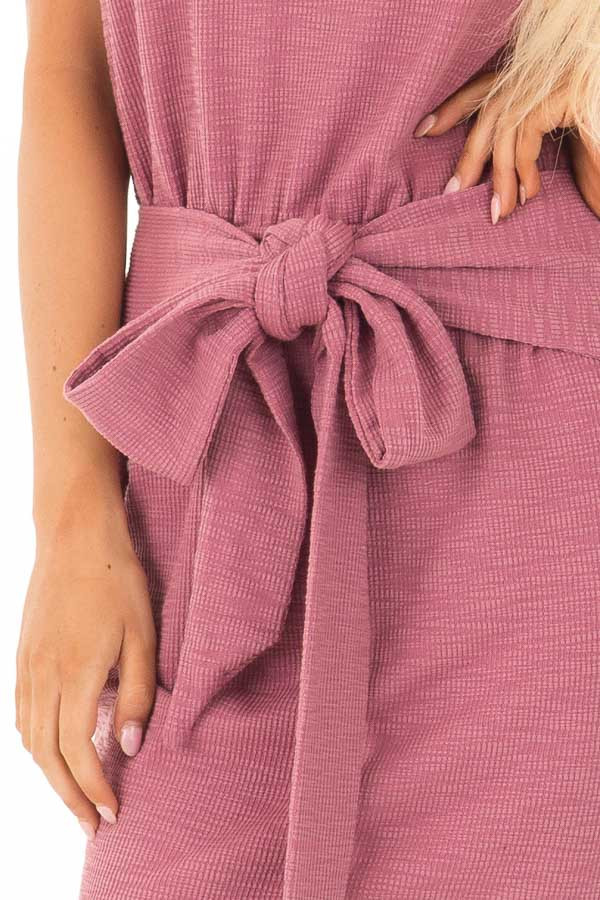 Berry Textured Knit Dress with Waist Tie detail