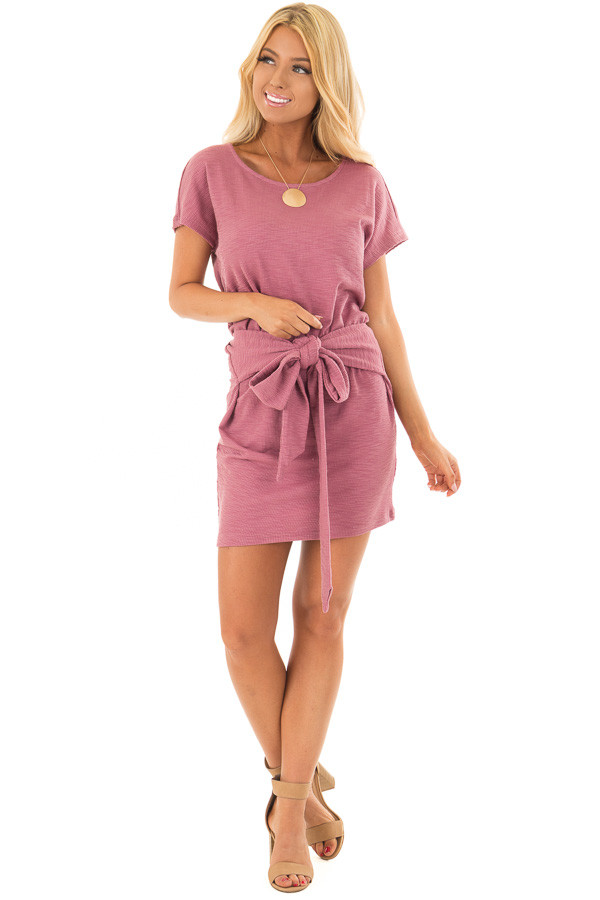 Berry Textured Knit Dress with Waist Tie front full body