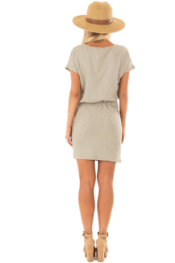 Dusty Olive Textured Knit Dress with Waist Tie back full body