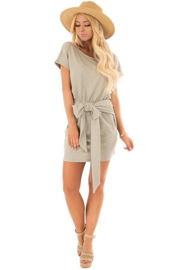 Dusty Olive Textured Knit Dress with Waist Tie front full body