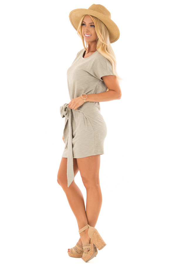 Dusty Olive Textured Knit Dress with Waist Tie side full body
