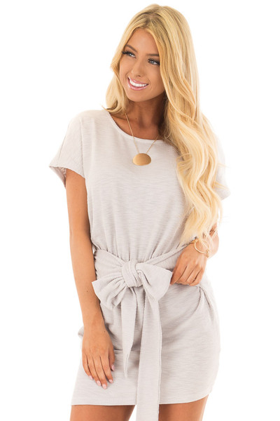 Heather Grey Textured Knit Dress with Waist Tie front close up