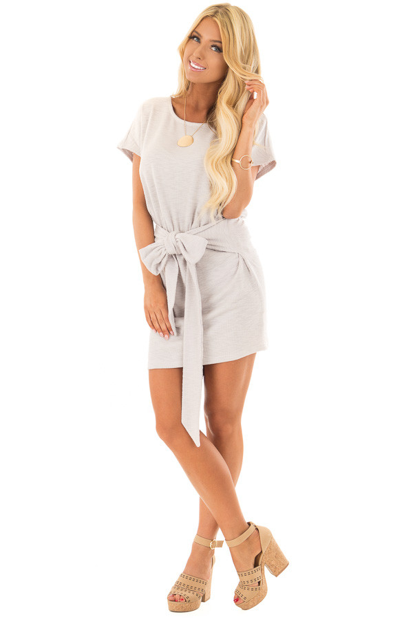 Heather Grey Textured Knit Dress with Waist Tie front full body