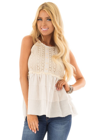 Oatmeal Crochet Lace Peplum Halter Tank Top front close up