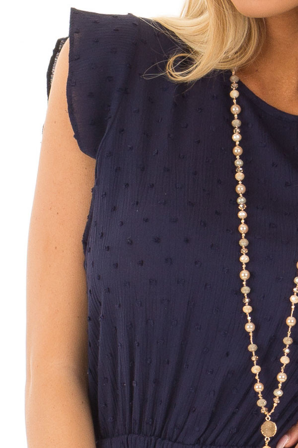 Navy Textured Jumpsuit with Open Tie Back detail