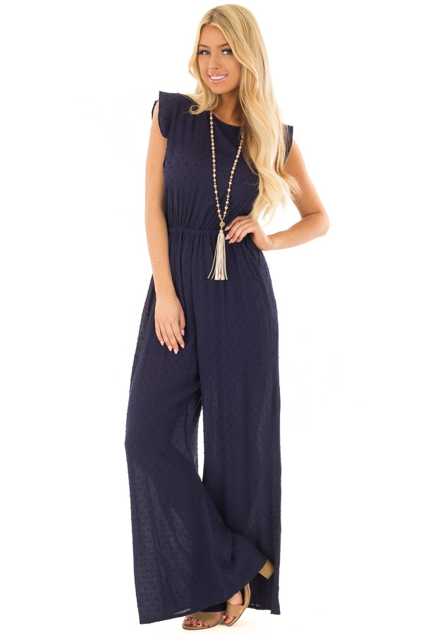 Navy Textured Jumpsuit with Open Tie Back front full body
