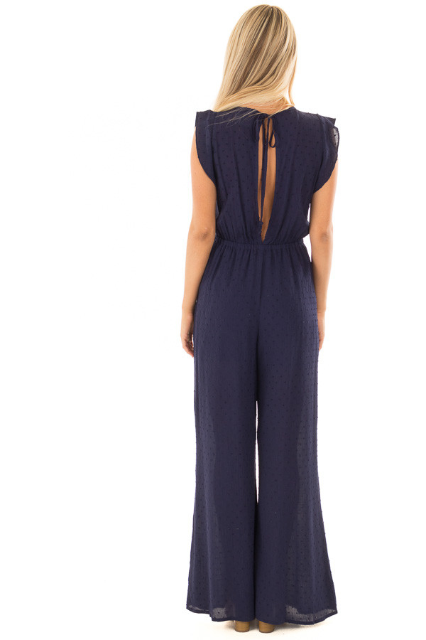 Navy Textured Jumpsuit with Open Tie Back back full body