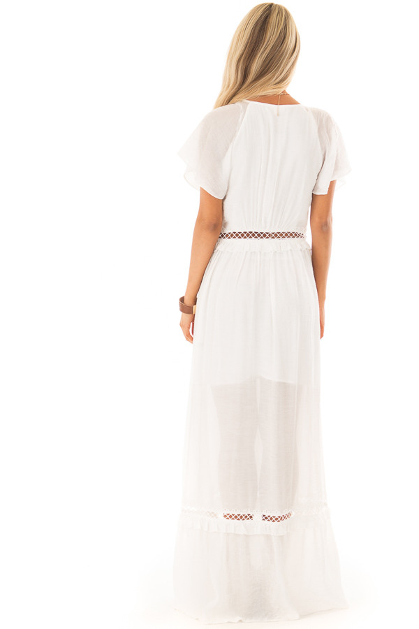 White Button Up Maxi Dress with Sheer Crochet Details back full body