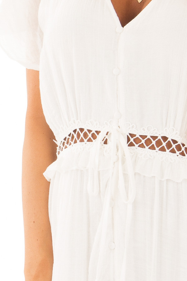 White Button Up Maxi Dress with Sheer Crochet Details detail