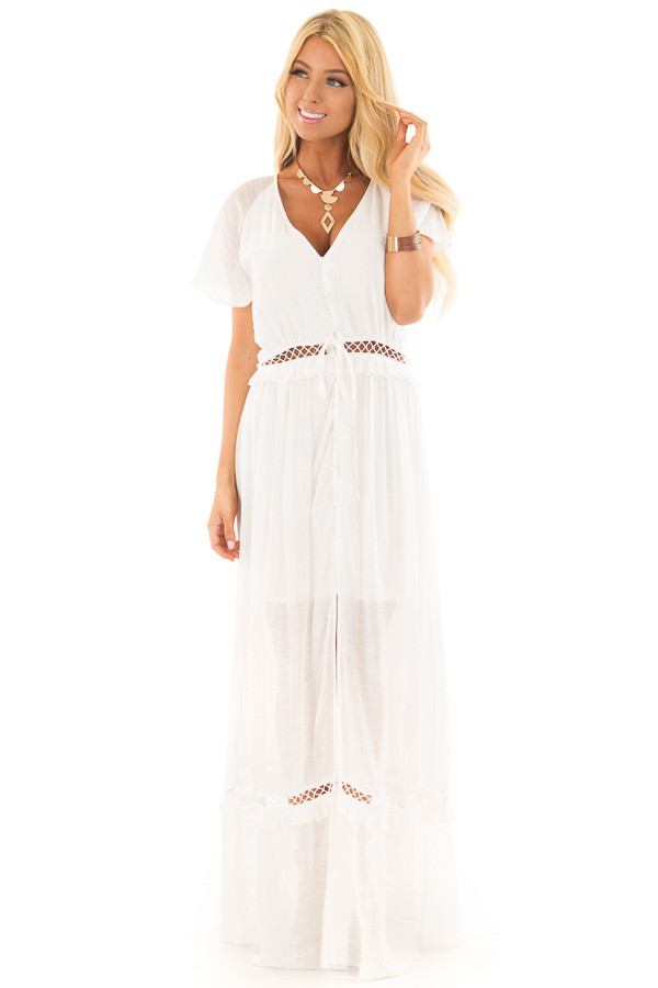 White Button Up Maxi Dress with Sheer Crochet Details front full body