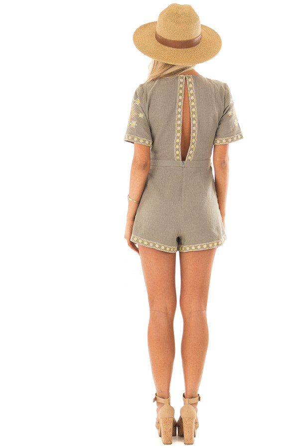 Olive Green Open Back Romper with Embroidery Detail back full body