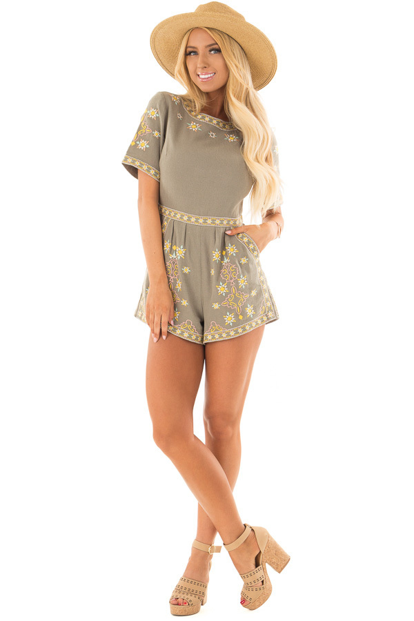 Olive Green Open Back Romper with Embroidery Detail front full body