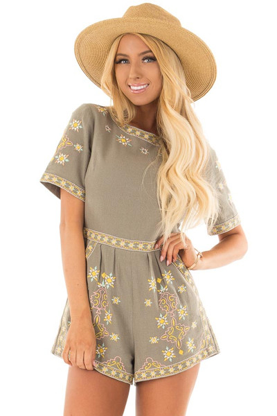 Olive Green Open Back Romper with Embroidery Detail front close up