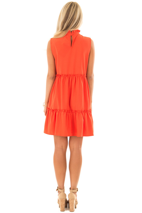 Tomato Red High Neck Dress with Ruffle Details back full body