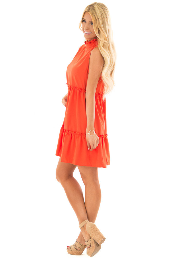 Tomato Red High Neck Dress with Ruffle Details side full body
