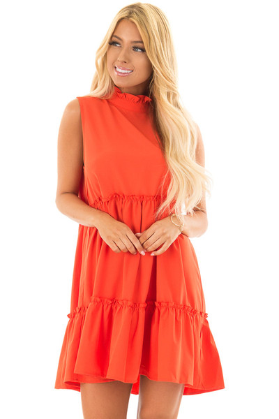 Tomato Red High Neck Dress with Ruffle Details front close up