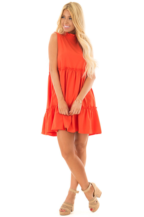 Tomato Red High Neck Dress with Ruffle Details front full body