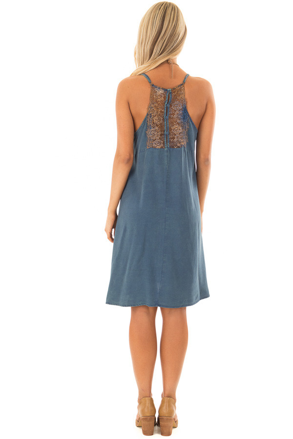 Washed Denim Blue Dress with Lace in Back Detail back full body