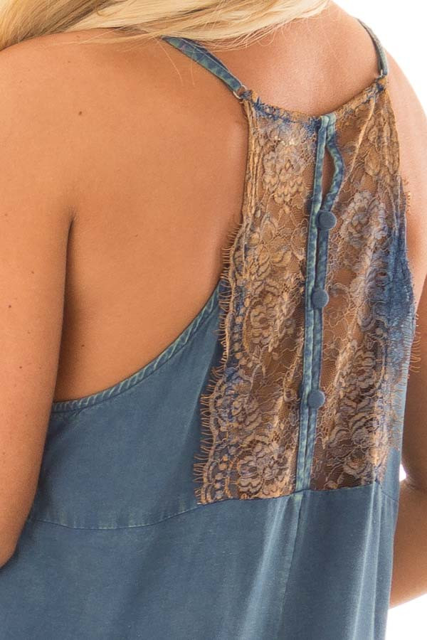 Washed Denim Blue Dress with Lace in Back Detail detail