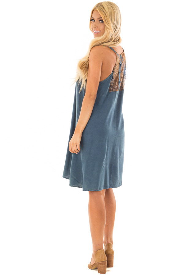 Washed Denim Blue Dress with Lace in Back Detail side full body