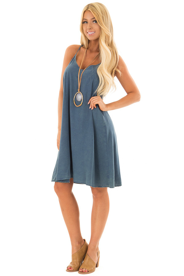 Washed Denim Blue Dress with Lace in Back Detail front full body